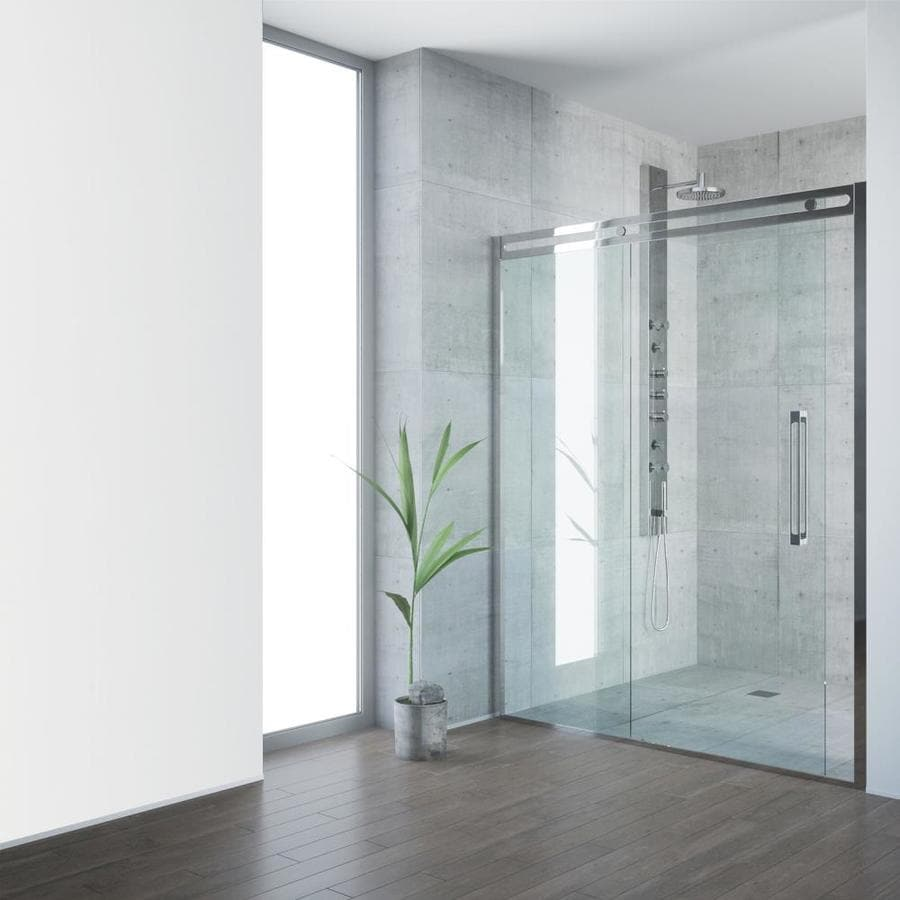 VIGO Erie 59.5-in to 60.5-in Framed Chrome Sliding Shower Door