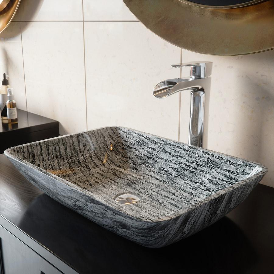 Vigo glass vessel sinks titanium tempered glass vessel - Bathroom tempered glass vessel sink ...
