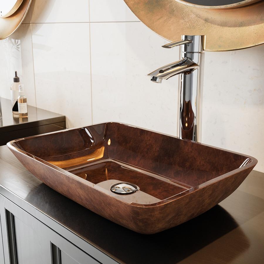 Vigo glass vessel sinks russet tempered glass vessel - Bathroom tempered glass vessel sink ...