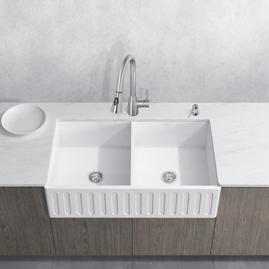 VIGO Kitchen Collection Platinum 33 In X 18 In White Double Basin Acrylic