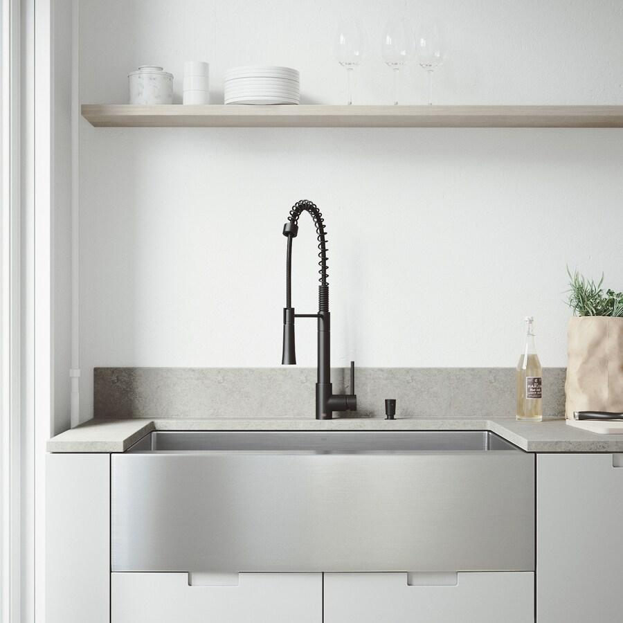 Vigo Laurelton Pull Down Spray Kitchen Faucet In Matte Black vigo bedford 36-in x 22.25-in stainless steel/matte black