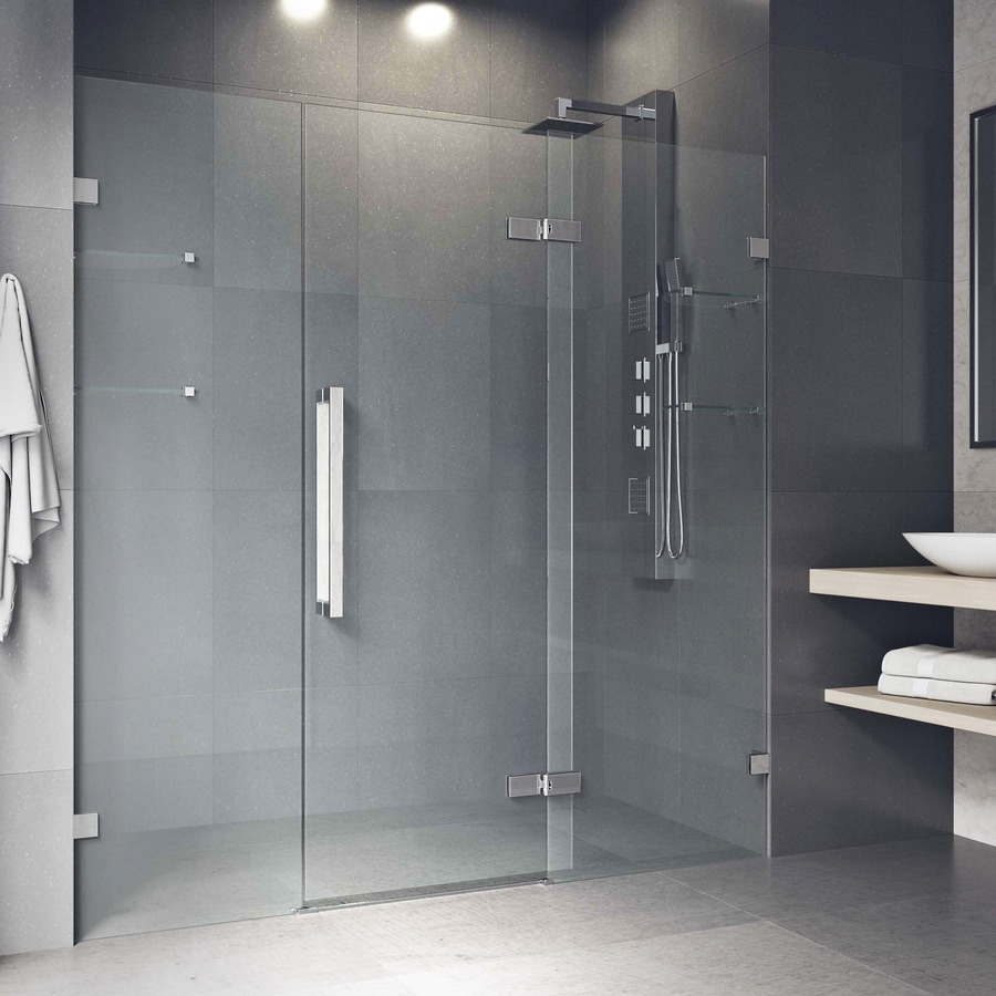 Shop Vigo Seneca 72x74 Adjustable Frameless Hinged Shower Door In