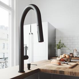 VIGO Greenwich Matte Black 1 Handle Deck Mount Pull Down Kitchen Faucet