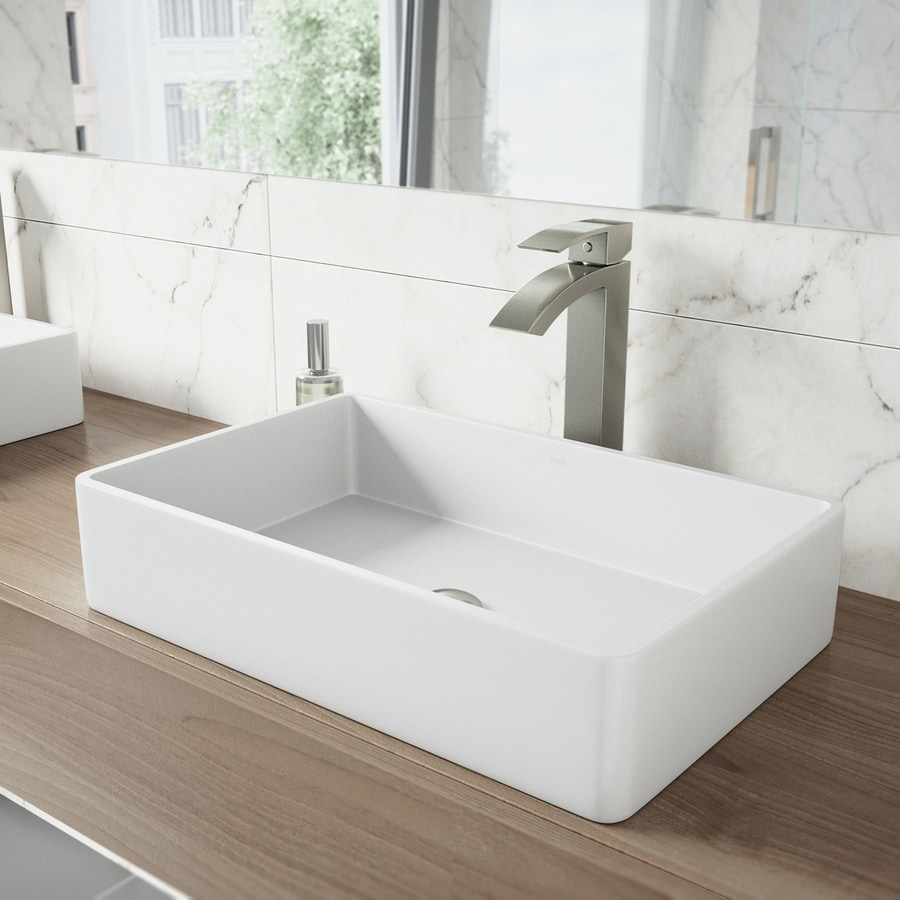 Vigo Vessel Sink Matte White Matte Stone Vessel Rectangular Bathroom Sink With Faucet Drain Included 21 25 In X 13 875 In In The Bathroom Sinks Department At Lowes Com