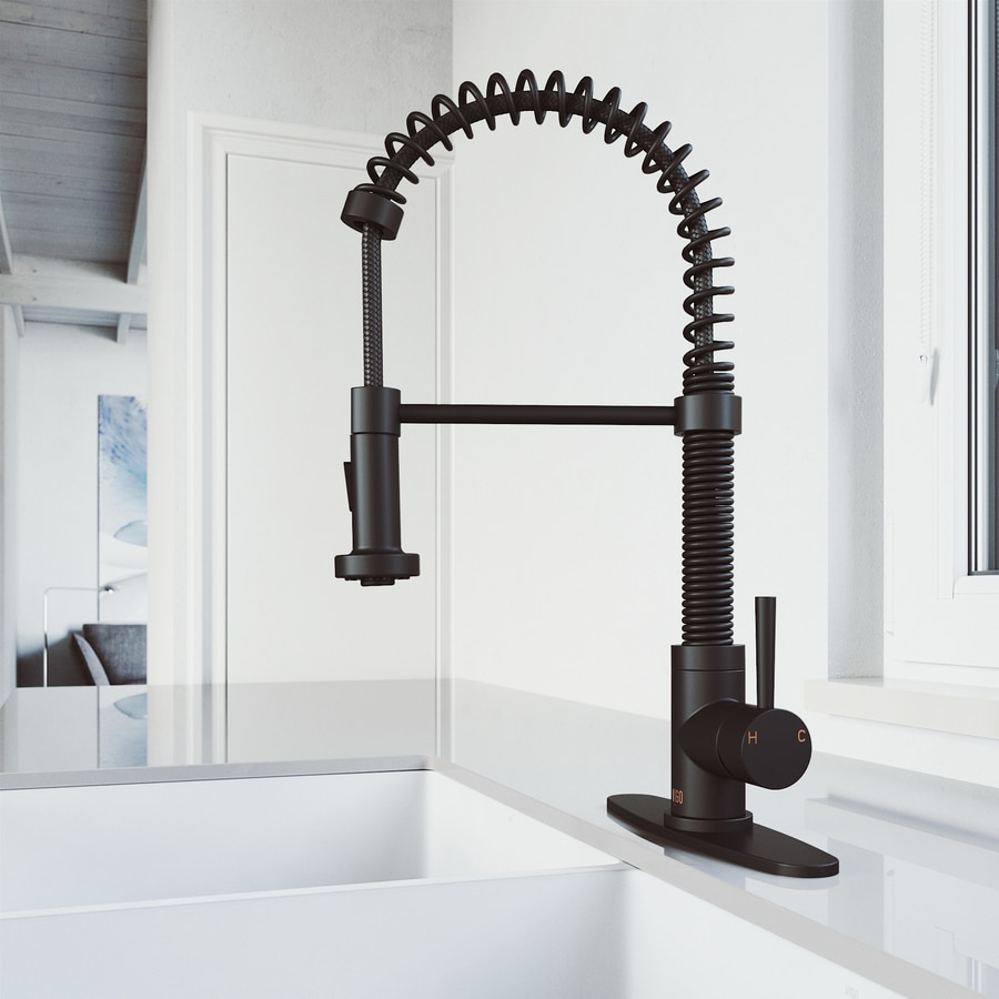 Vigo Edison Matte Black 1 Handle Deck Mount Pull Down Handle Kitchen Faucet Deck Plate Included In The Kitchen Faucets Department At Lowes Com