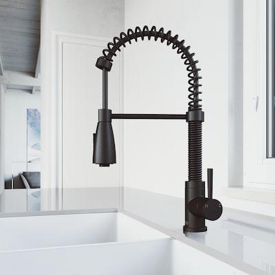 Brant Matte Black 1-handle Deck Mount Pull-down Kitchen Faucet