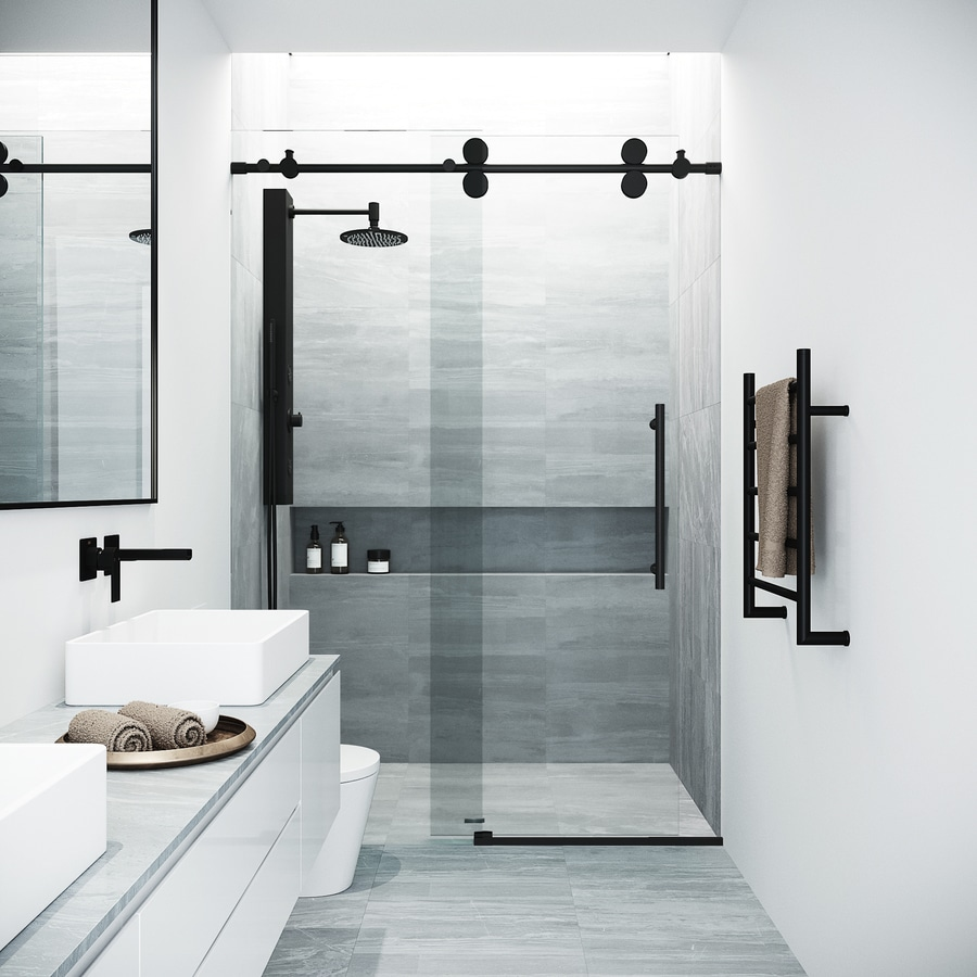 Bathroom Sliding Glass Doors: VIGO Elan 56-in To 60-in W Frameless Matte Black Bypass