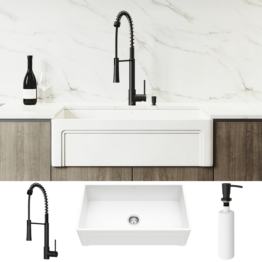 Vigo Matte Stone Undermount 33 In X 18 In Matte White Single Bowl Workstation Kitchen Sink All In One Kit In The Kitchen Sinks Department At Lowes Com