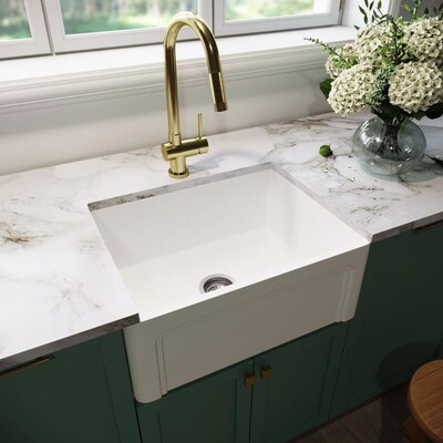 Matte Stone 24-in x 18-in Matte White Single Bowl Tall (8-in or Larger)  Undermount Apron Front/Farmhouse Commercial/Residential Kitchen Sink