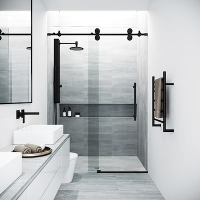 Elan 44 In To 48 W Frameless Byp Sliding Matte Black Shower Door