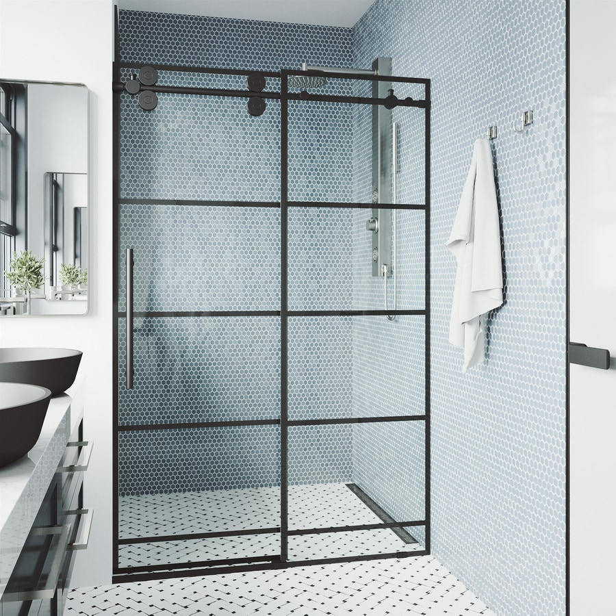 Vigo Elan 74 In H X 68 In To 72 In W Frameless Bypass Sliding Matte Black Shower Door Clear Glass In The Shower Doors Department At Lowes Com