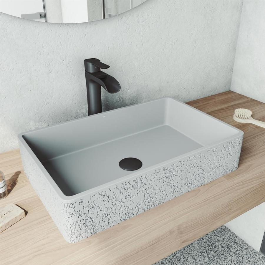 Vigo Dahlia Ash Concrete Vessel Rectangular Bathroom Sink With Faucet Drain Included 21 25 In X 13 875 In In The Bathroom Sinks Department At Lowes Com
