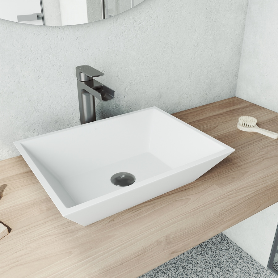 Vigo Vinca Matte White Matte Stone Vessel Rectangular Bathroom Sink With Faucet Drain Included 18 In X 13 75 In In The Bathroom Sinks Department At Lowes Com