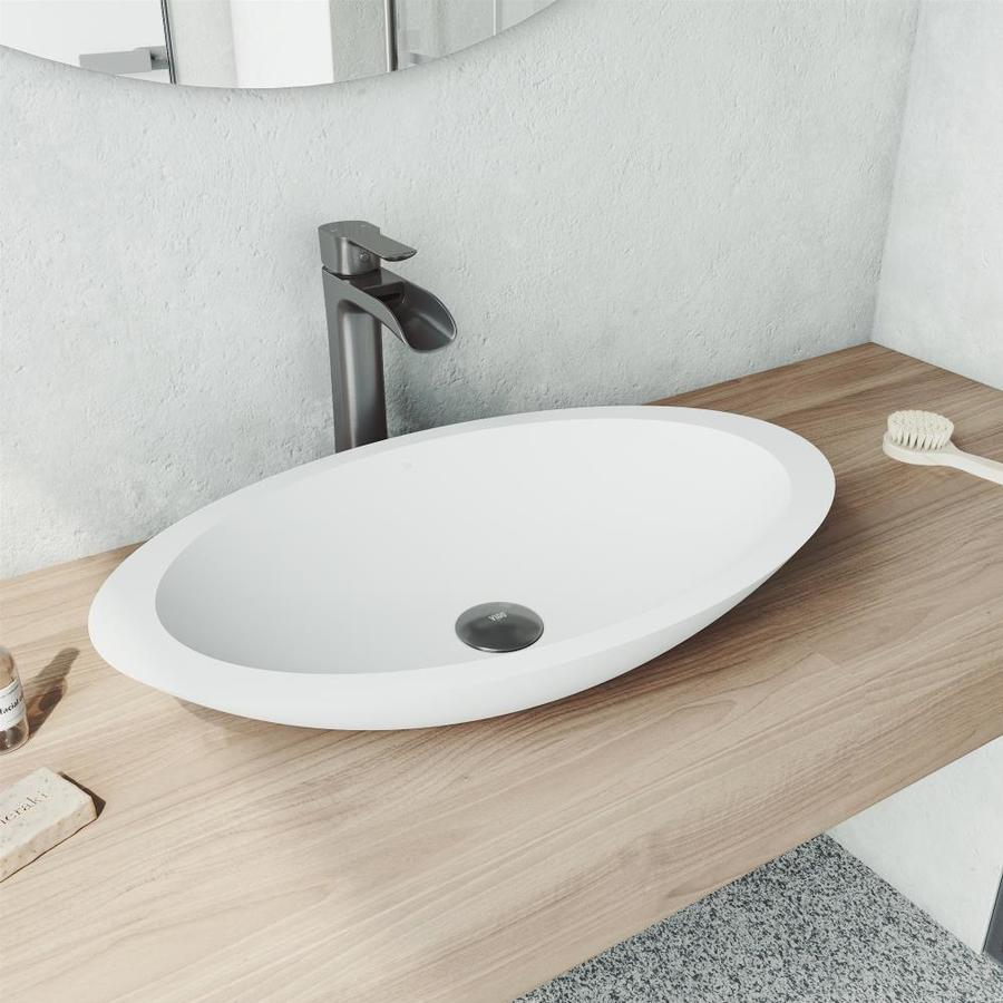 Vigo Wisteria Matte White Matte Stone Vessel Oval Bathroom Sink With Faucet Drain Included 23 125 In X 13 5 In In The Bathroom Sinks Department At Lowes Com