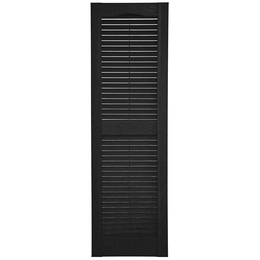 Custom Shutters llc. 2-Pack Black Louvered Vinyl Exterior Shutters (Common: 14-in x 70-in; Actual: 14.5-in x 70-in)