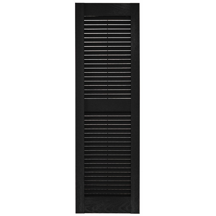 Custom Shutters llc. 2-Pack Black Louvered Vinyl Exterior Shutters (Common: 14-in x 62-in; Actual: 14.5-in x 62-in)