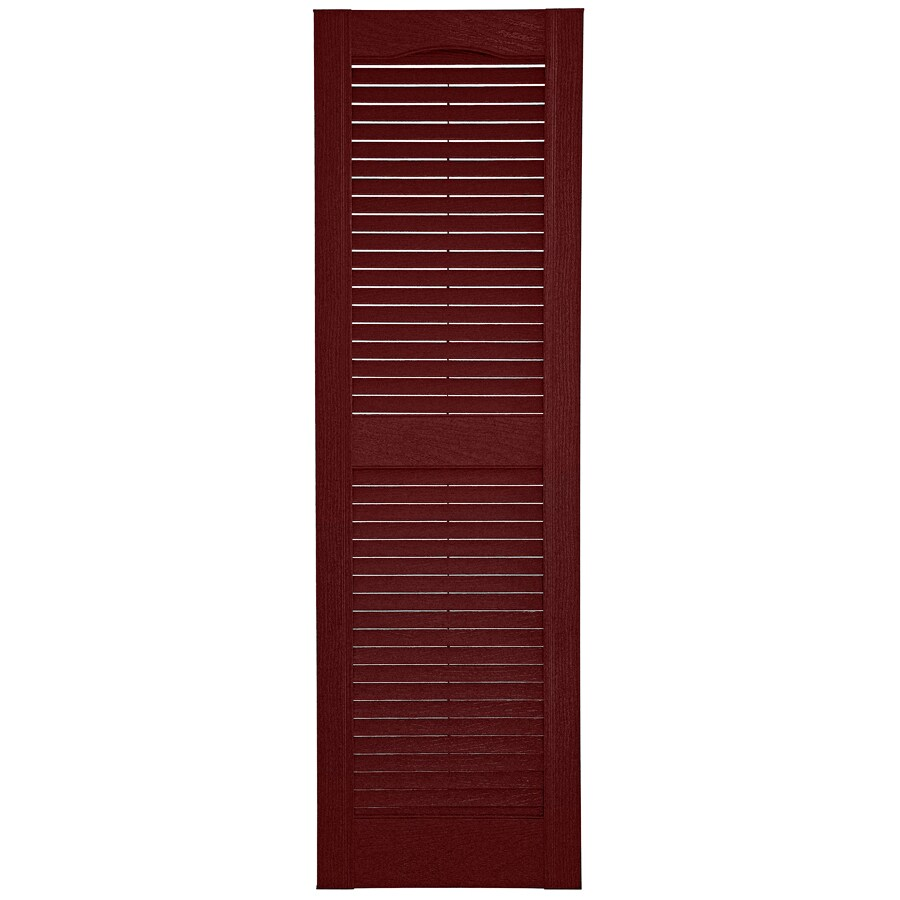 Custom Shutters llc. 2-Pack Burgundy Louvered Vinyl Exterior Shutters (Common: 14-in x 57-in; Actual: 14.5-in x 57-in)