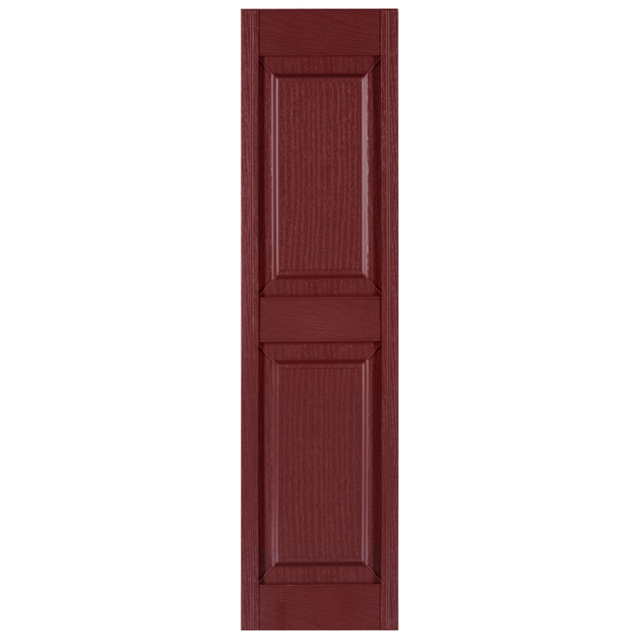 Custom Shutters llc. 2-Pack Burgundy Raised Panel Vinyl Exterior Shutters (Common: 14-in x 65-in; Actual: 14.5-in x 65-in)