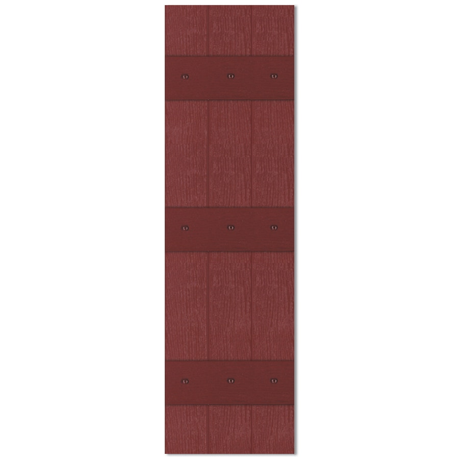 Custom Shutters llc. 2-Pack Burgundy Board And Batten Vinyl Exterior Shutters (Common: 13-in x 55-in; Actual: 13.526-in x 55-in)