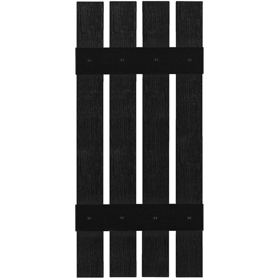 Custom Shutters llc. 2-Pack Black Board And Batten Vinyl Exterior Shutters (Common: 16-in x 59-in; Actual: 16-in x 59-in)