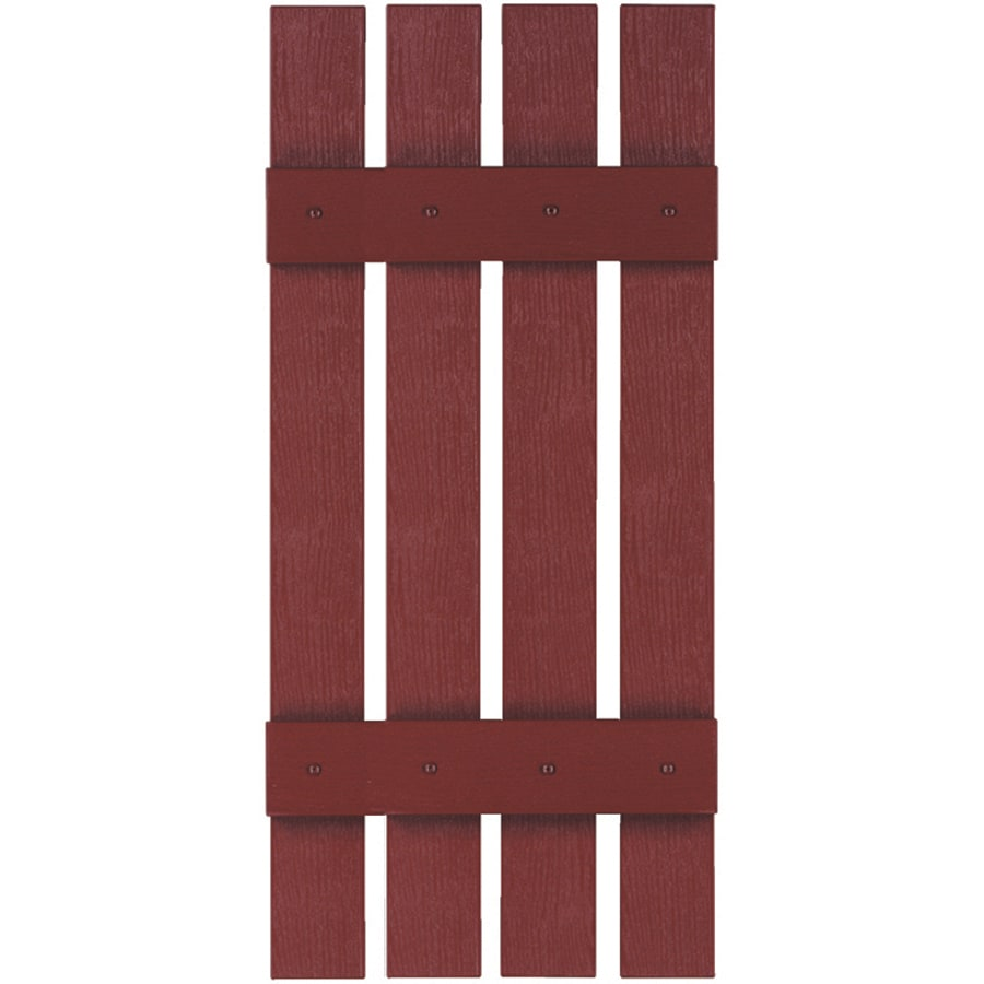 Custom Shutters llc. 2-Pack Burgundy Board and Batten Vinyl Exterior Shutters (Common: 16-in x 55-in; Actual: 16-in x 55-in)