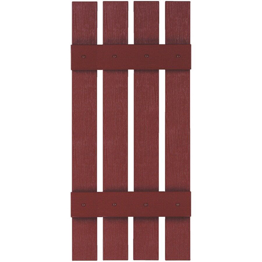 Custom Shutters llc. 2-Pack Burgundy Board and Batten Vinyl Exterior Shutters (Common: 16-in x 63-in; Actual: 16-in x 63-in)