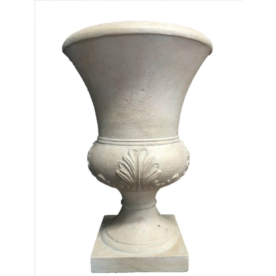 Allen Roth 15 25 In W X 26 In H Washed White Fiberglass Planter In The Pots Planters Department At Lowes Com