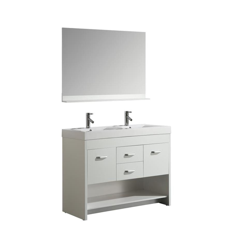 Design Element Designers Pick 48 In White Double Sink Bathroom