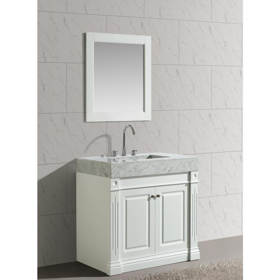Merveilleux Design Element Odyssey 36 In White Single Sink Bathroom Vanity With White  Marble Top
