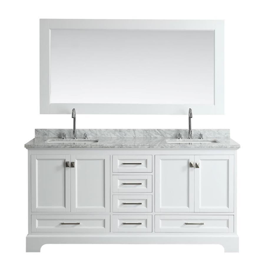 Design Element Omega 72 In White Double Sink Bathroom