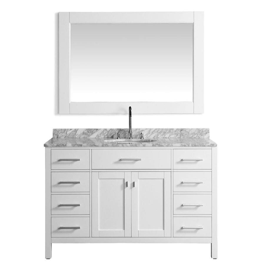 Design Element London 54 In White Undermount Single Sink Bathroom Vanity With White Marble Top Mirror Included In The Bathroom Vanities With Tops Department At Lowes Com