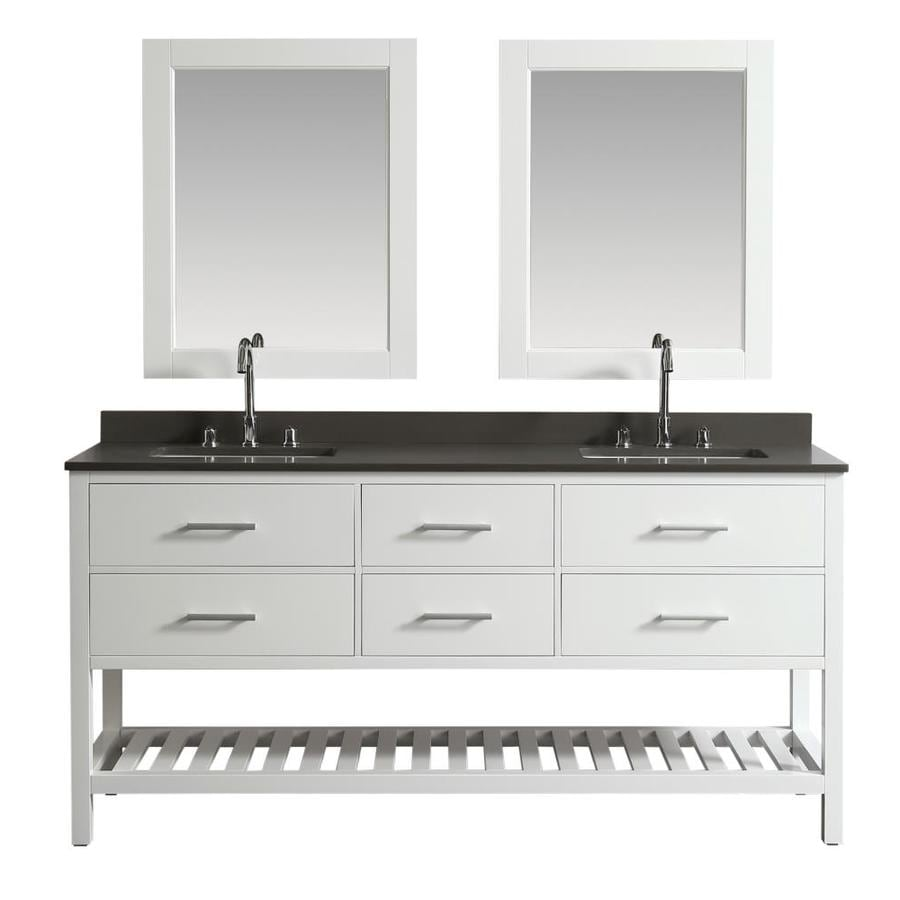 Design Element London 72 In White Undermount Double Sink Bathroom Vanity With Gray Quartz Top Mirror Included In The Bathroom Vanities With Tops Department At Lowes Com