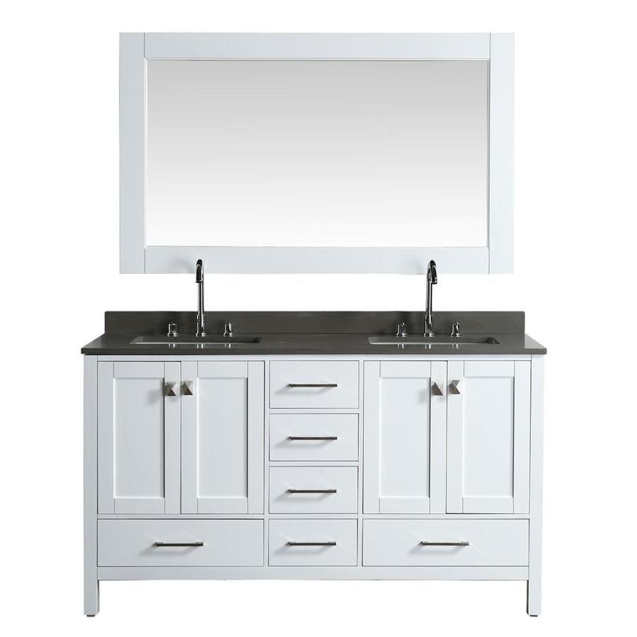 Design Element London 61 In White Double Sink Bathroom