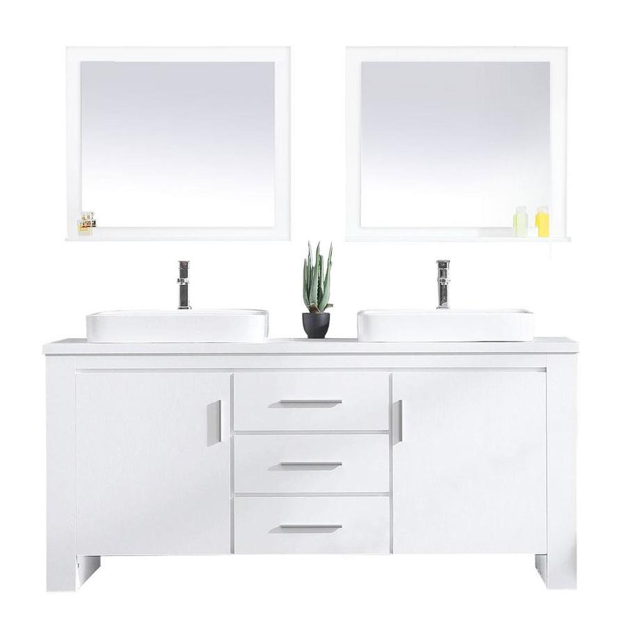 Design Element Washington 71 In White Double Sink Bathroom