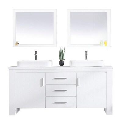 Design Element Washington 71 In White Double Sink Bathroom Vanity