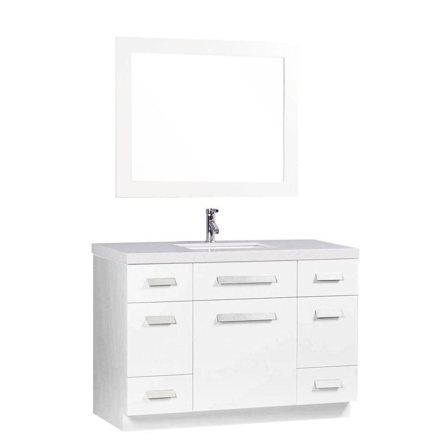 Design Element Moscony 48 In White Single Sink Bathroom Vanity With