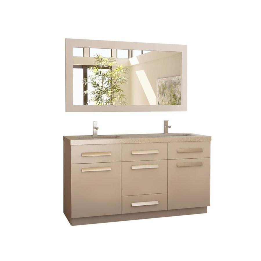 Design Element Moscony 60 In White Double Sink Bathroom