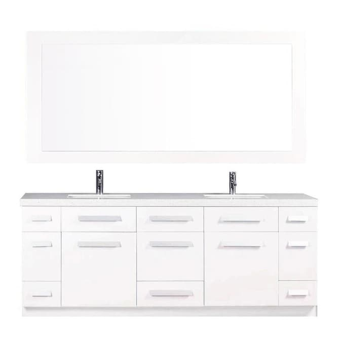 Design Element Moscony 84 In White Undermount Double Sink Bathroom Vanity With White Quartz Top Mirror Included In The Bathroom Vanities With Tops Department At Lowes Com
