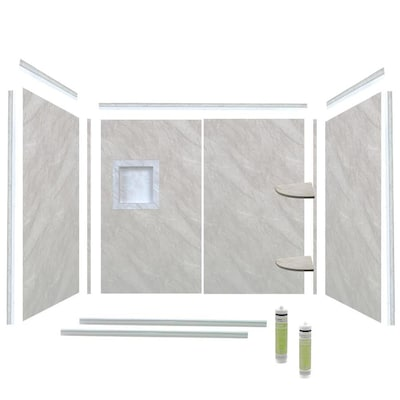 Bella Core Arctic Mist Poly Tub Surround Kit At Lowes