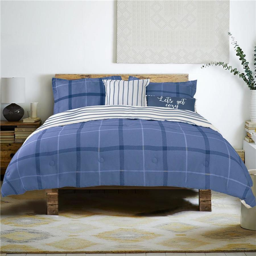 Farmhouse Living 5 Piece Navy White Medium Blue King California King Comforter Set In The Bedding Sets Department At Lowes Com