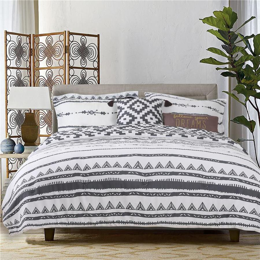 Explore 5 Piece Charcoal Gray Creamy White King California King Comforter Set In The Bedding Sets Department At Lowes Com