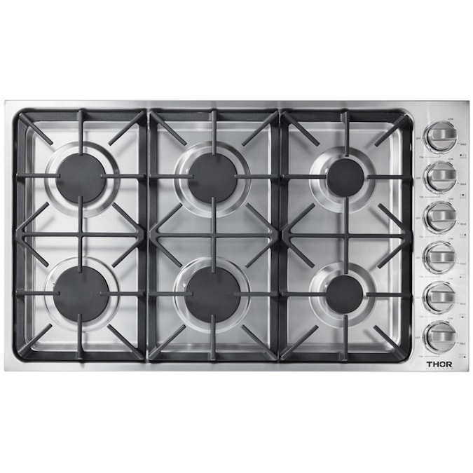 Thor Kitchen 36 Stainless Steel Gas Rangetop Gas Stove Top Cooker with with 6 Sealed Burners and Light Up Control Knob Sliver Gas Range Top