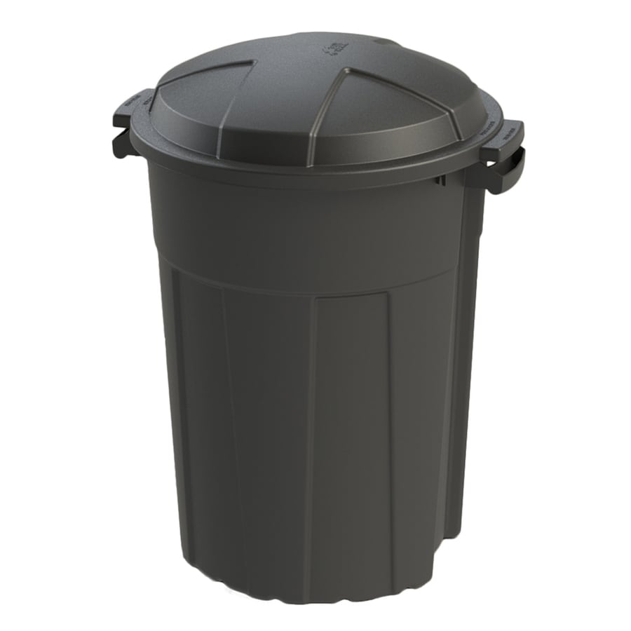 Shop Blue Hawk 32 Gallon Black Outdoor Trash Can At Lowes Com