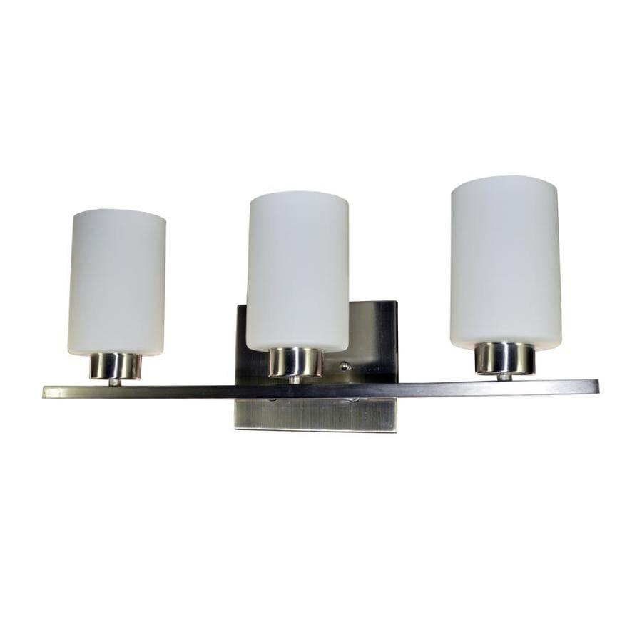 eLIGHT Dakota 3-Light 8-in Brushed Nickel Cylinder Vanity Light