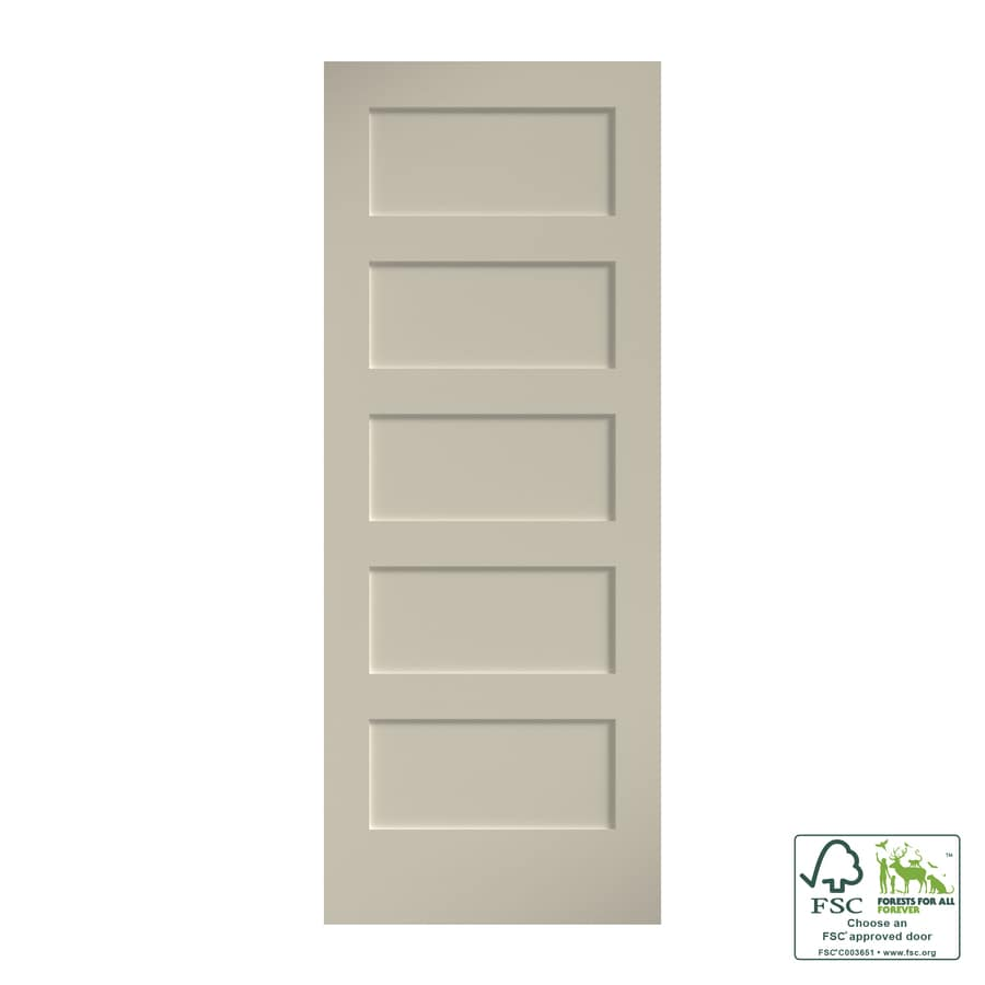 EightDoors Shaker 9-in x 9-in Primed White 9-Panel Square Solid Core  Primed Pine MDF Slab Door