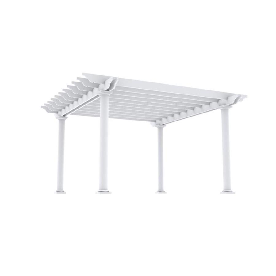 Outdoor Distinctions Tuscan 194-in W x 194-in L x 108-in H White Freestanding Pergola with Canopy