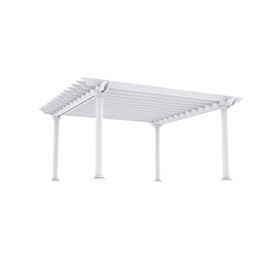 Outdoor Distinctions Tuscan 226-in W x 226-in L x 108-in H White Freestanding Pergola with Canopy
