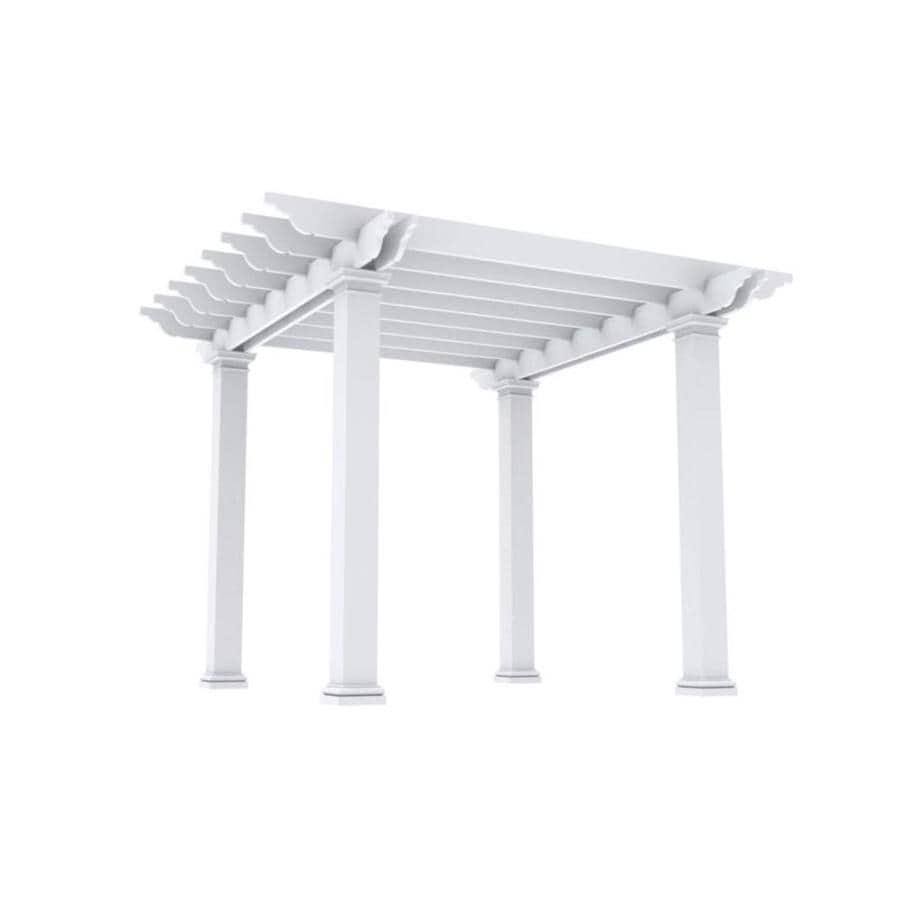 Outdoor Distinctions Harmony 146-in W x 146-in L x 108-in H White Freestanding Pergola with Canopy