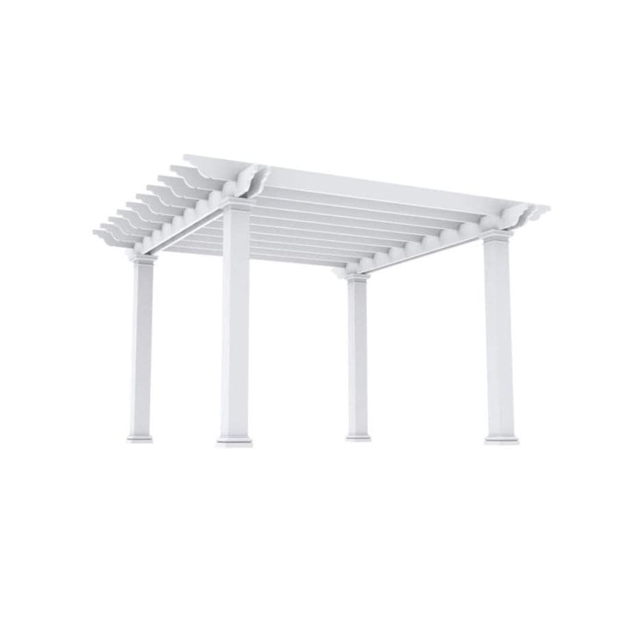 Outdoor Distinctions Harmony 178-in W x 178-in L x 108-in H White Freestanding Pergola with Canopy