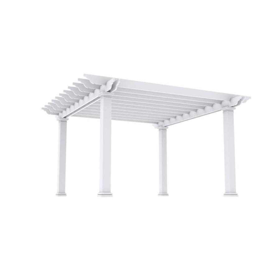 Outdoor Distinctions Harmony 194-in W x 194-in L x 108-in H White Freestanding Pergola with Canopy
